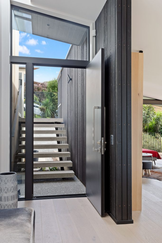 Fleetwood Construction, Registered Master Builders, Christchurch, Governors Bay, House of the Year, New Build, Sheppard and Rout Architects, Architectural Build, custom stairs, Entrance, Cedar feature wall