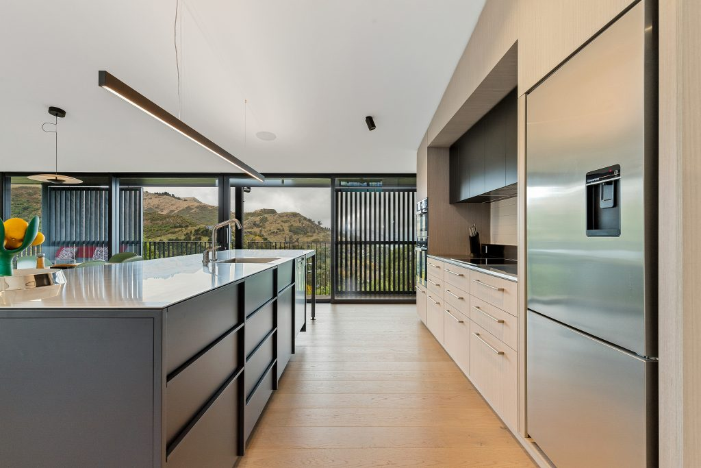 Fleetwood Construction, Registered Master Builders, Christchurch, Governors Bay, House of the Year, New Build, Sheppard and Rout Architects, Architectural Build, Lyttelton Harbour Views, Designer kitchen