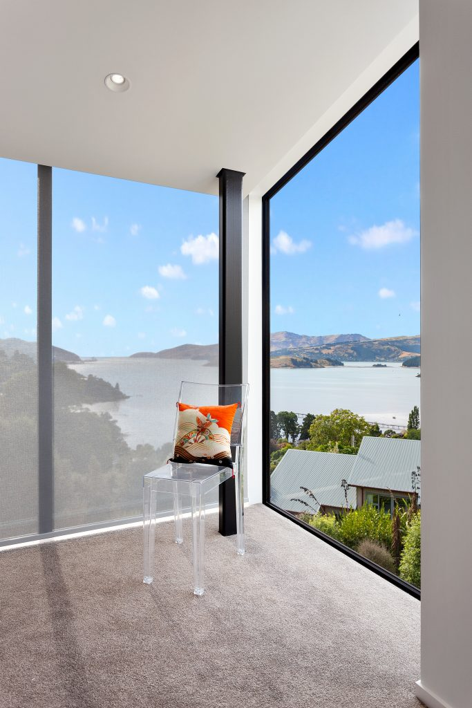 Fleetwood Construction, Registered Master Builders, Christchurch, Governors Bay, House of the Year, New Build, Sheppard and Rout Architects, Architectural Build, Lyttelton Harbour Views, Bedroom with a view
